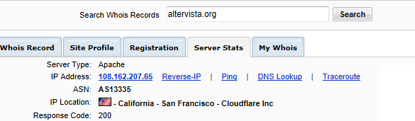 http://snaku.altervista.org (108.162.207.65, California - San Francisco - Cloudflare Inc).