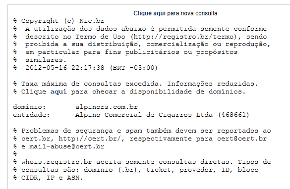 domain name registrar in Brazil with the following Whois record.