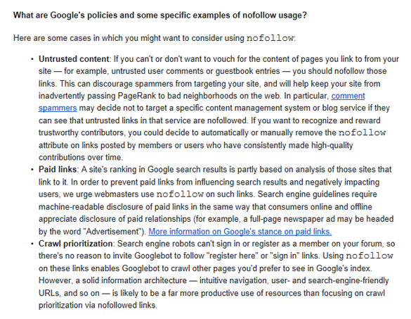 Google policies and some specific examples of nofollow usage