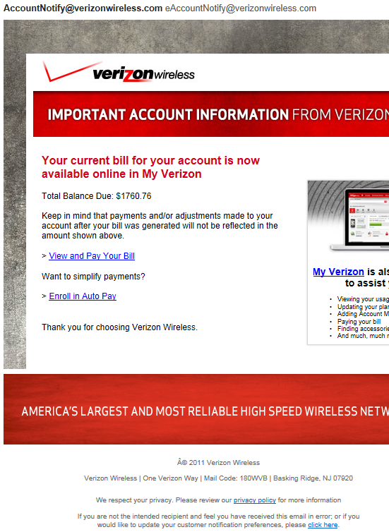 Fake Verizon Wireless Email