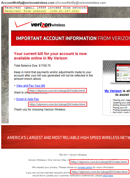 Fake Verizon Wireless Email Scam