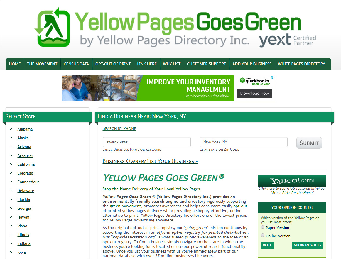 Premium  Green Domain Names Acquired by YELLOW PAGES GOES