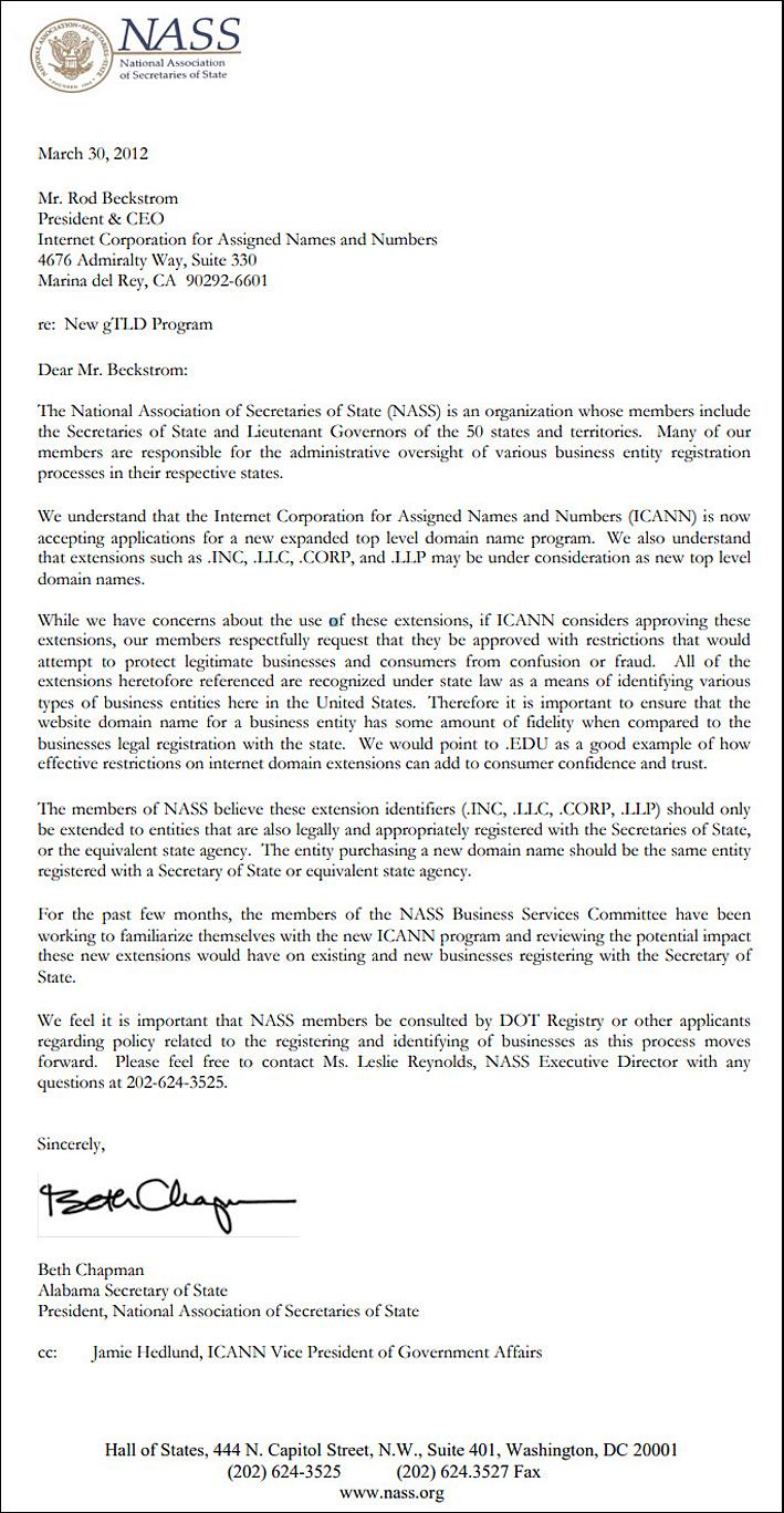 ICANN Letter