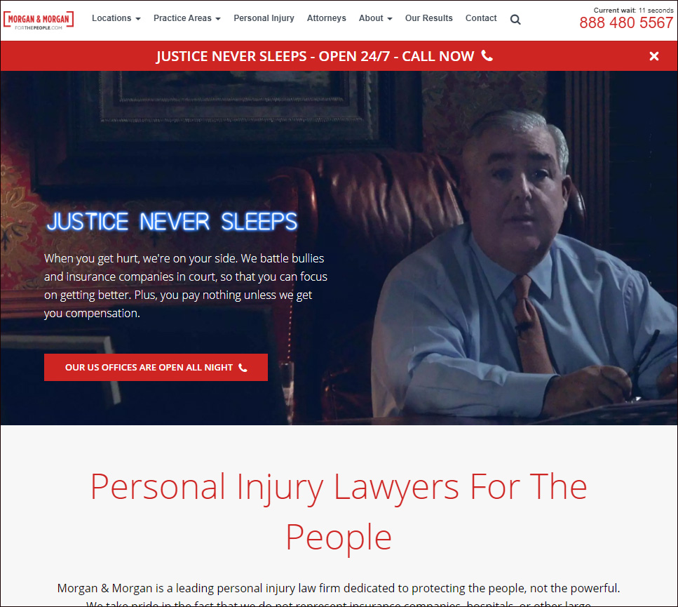 """Morgan & Morgan"", a national personal injury firm which utilizes the ""For the People"" trademark with its website located at https://www.forthepeople.com."